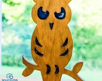 Blue Owl Yard Or Desk Decor, Glow In The Dark, Owl Wall Art,