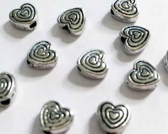 80 Antique Silver 6mm Heart Spacer Beads