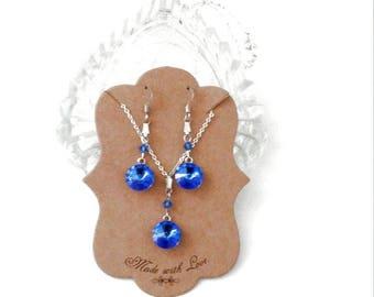 Aquamarine/Sapphire Swarovski Crystal/Rhinestone SP Necklace Pendant Set