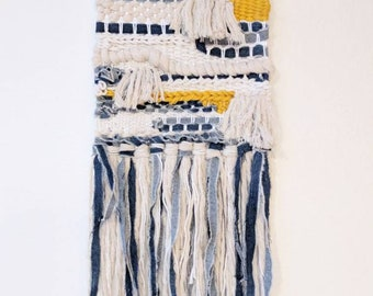 Denim, Cotton Rope & Mustard Colored Woven Wall Hanging | Blue, White and Yellow Woven Wall Hanging | Denim, Cream and Mustard  Wall Hanging