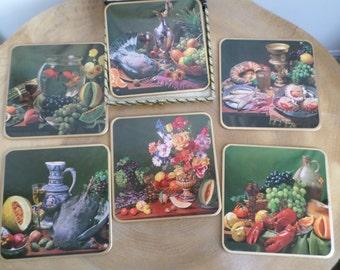 Vintage Mid Century Set 6 Win El Ware Place, Table Mats - surreal still life, goldfish,fruit
