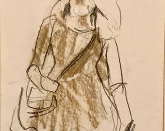 Original Drawing, Study of a girl walking, 2015
