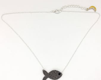 "Handmade necklace ""The Fish"" gray leather"