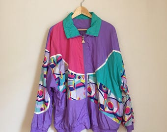 Quirky neon windbreaker, 80s, funky, bomber jacket, XL, *vintage*