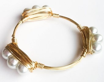 Pearl Wire-Wrapped Bangle