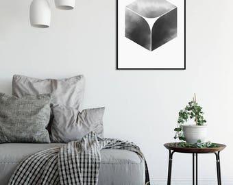 Black and White Abstract Watercolor Print 2 Geometric Art Print Minimalist Art Scandinavian Posters Large Prints Digital Download