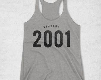 Sweet 16 Gift - 16th Birthday Gift Girl - Vintage 2001 Tank Top for Women - Girls 16th birthday Gifts - 2001 Shirt - 16 Gifts For Girls -