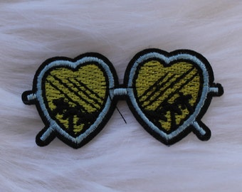 Heart Sunglasses DIY Iron-on Embroidered Patch!