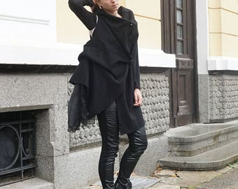 Cashmere Deconstructed Black Coat Vest, Oversized Extravagant Wool Vest, Asymmetric Loose Fit Sleeveless Jacket, Party Drapped Vest