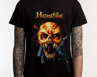 Hostile Heavy Metal T-Shirt Men's Women's Unisex, Graphic Tee, Original Art