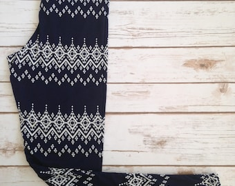 Brushed Poly Leggings, Abstract White Snowfall Bands on Navy