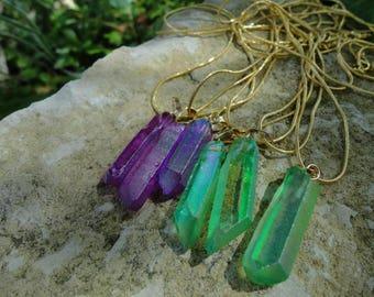 Green aura purple aura quartz pendant necklace will be