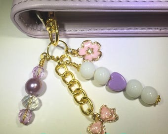 Planner Charm/ keychain/ Handbag Dangle 'Purple Heart & Pink Bow' Accessory