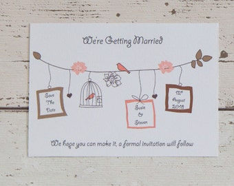 20 x Save the date cards, save the date, bird cage, wedding, invitations, pink, card,