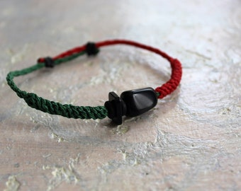 Red and green macramé bracelet with obsidian