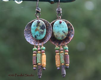 Tibetan Turquoise Earrings, Southwestern Earrings, Turquoise Earrings, Native American Indian Jewelry, December Birthstone Jewelry, Boho