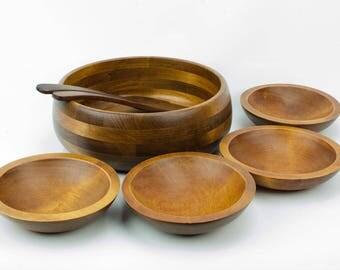 Baribocraft Salad Bowl Set, Lesco Baribo Maid, Wood Salad Bowl Set,, Vintage Wooden Salad Bowls