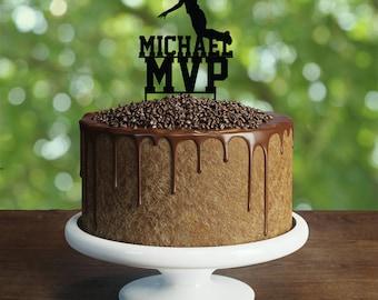 Basketball birthday Cake Topper- Customizable Cake Topper- Basketball Cake Topper-Silhouette Basketball Cake Topper-Personalized cake topper