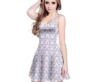 D.Va Dress - Sleeveless Skater Dress Overwatch Dress Hana Song Dress Pink Mech Dress Plus Size Dress Video Game Dress Mobile Exo Force Dress