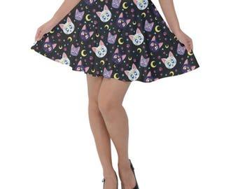 Sailor Moon Cat Skirt - Skater Skirt Anime Skirt Cosplay Skirt Comicon Skirt Plus Size Skirt Luna Skirt Artemis Skirt Diana Skirt