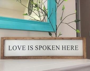 Love is Spoken Here | Home Decor | Rustic Decor | Farmhouse Decor | Shelf Sitter