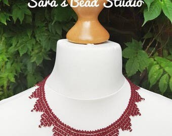 Claret and gold bead necklace, red and gold, bead necklace, Claret necklace, burgundy bead necklace, red seed bead jewellery, bead weaving