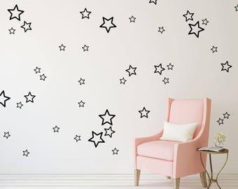 Star Wall Decal Outline Stickers - Wall Pattern - Nursery Kids Wall Sticker | PP125