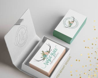 Mini pre-made branding bundle, mini branding logo bundle, watercolor branding package, custom branding