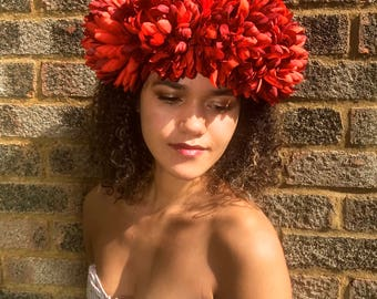 Statement Red Floral Crown. Bold Festival Headdress