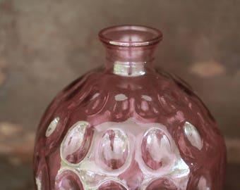 Pink Glass Orb Vase Vintage