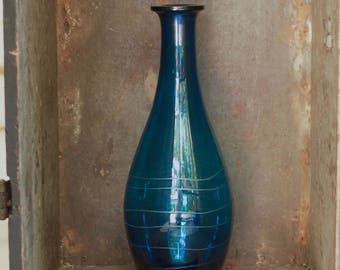 Teal or Blue Tall Glass Vase Vintage