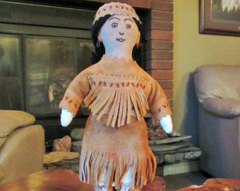 vintage leather handmade native doll