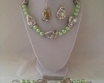 Lime Necklace Earring Bracelet Set