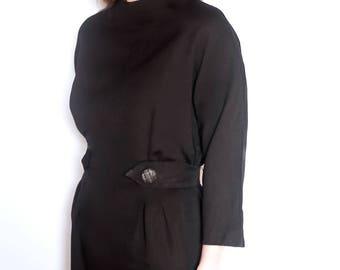 Vintage 60s black mod dress size 12