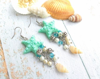 Ocean jewelry gifts for women Beach wedding Sea jewelry Starfish Seashells jewelry Shell earrings Long summer earrings Nautical jewelry