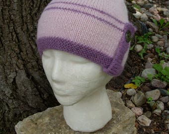 Alpaca Hat with Button Tab - Hand knit