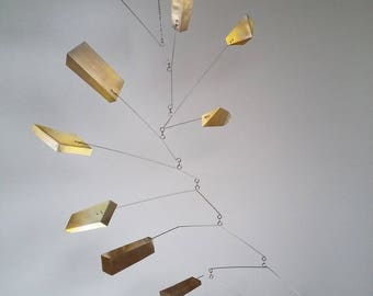 brass mobile sculpture, calder mobile, kinetic art, brass sculpture