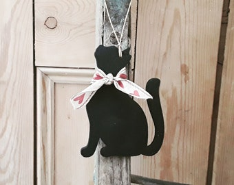 Hanging Black Cat Decoration, Hand Painted Black Cat Ornament, Cat Lover Gift, Cat Memento, Lucky Black Cat