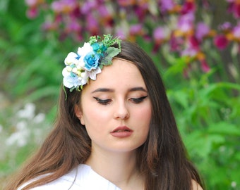 Bridal Head Wreath  Bridal flower forest wreath Wedding headband Spring Wedding Floral Headpiece Elastic Headband Retro Hair Tie Flower Hair