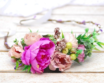 Pink beige floral crown Boho floral crown Wedding hair halo Rustic flower crown Floral hair piece Bridal headband Flower headpiece