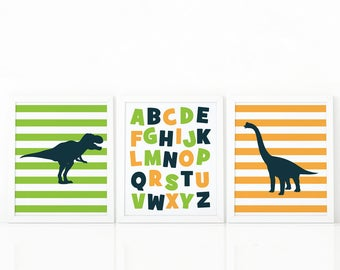 Alphabet wall art, Nursery wall decor, Dinosaur print, nursery decor, Animal print, Kids wall decor, Abc poster, set of 3, kids room decor