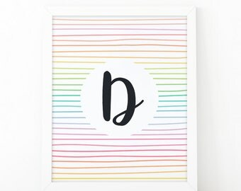 Letter D, typography, Colorful  Stripes, initial Printable, Colors, Nursery Initial Print, Initial Wall Art, initial print, printable letter