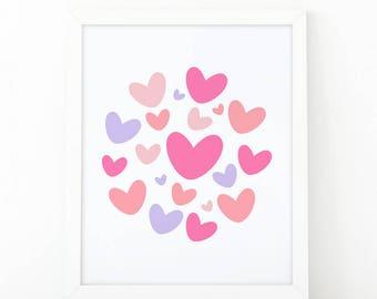 Hearts print, Love print, Nursery Wall art, heart wall art, nursery decor, Printable art, scandinavian art, love wall art, modern room decor
