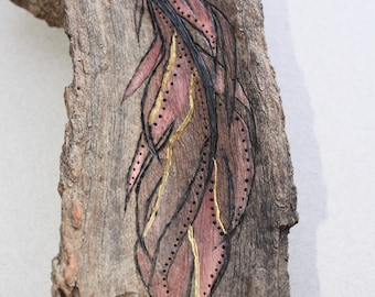 Unique wood burned, Feather Artwork