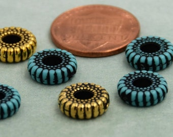 10mm Acrylic Rondelle, 10mm Gold plated Rondelle, 10mm Turquoise Rondelle Bead, Rondelle beads, Western Beads, 12 pieces