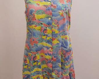 1980's colourful summer dress with drop waist and scenery pattern with POCKETS