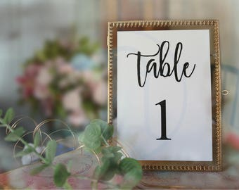 Table Number Cards, Black and White Wedding Table Numbers, Calligraphy Table Number, Linen, Simple Table Cards, 5x7 Table Cards