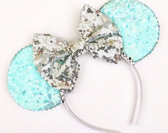 The Full Sequin (Mint Mermaid) - Handmade Sequin Mouse Ears Headband