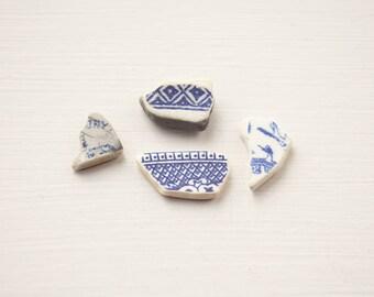 Blue and white sea pottery English sea china Surf tumbled Ocean worn Rustic mosaic tiles Coastal decor art Craft supplies Unusual unique diy