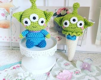 Alien de Toy story poupée ou crème glacée au crochet amigurumi peluche